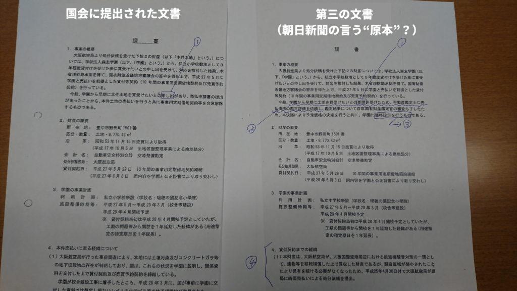 朝日新聞「財務省による文書書き換え疑惑」